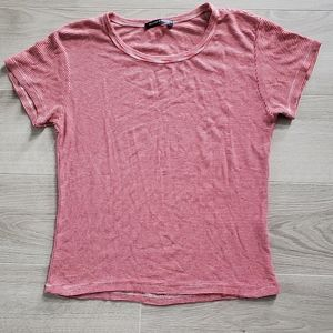 Brandy Melville Red Striped Baby Tee One Size